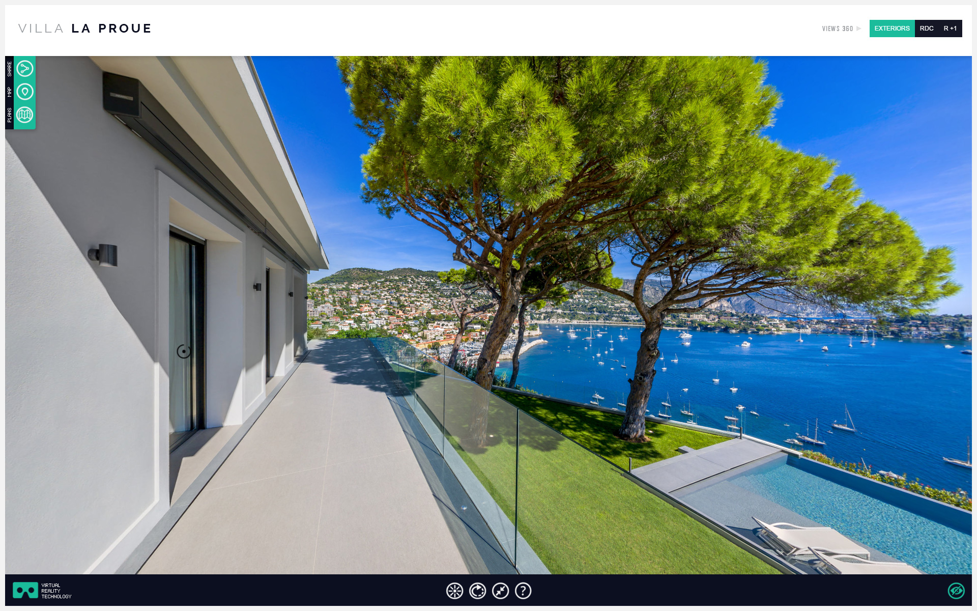 Visite virtuelle 360 virtual reality luxury villa into the french riviera by Thierry Russo-Delattre