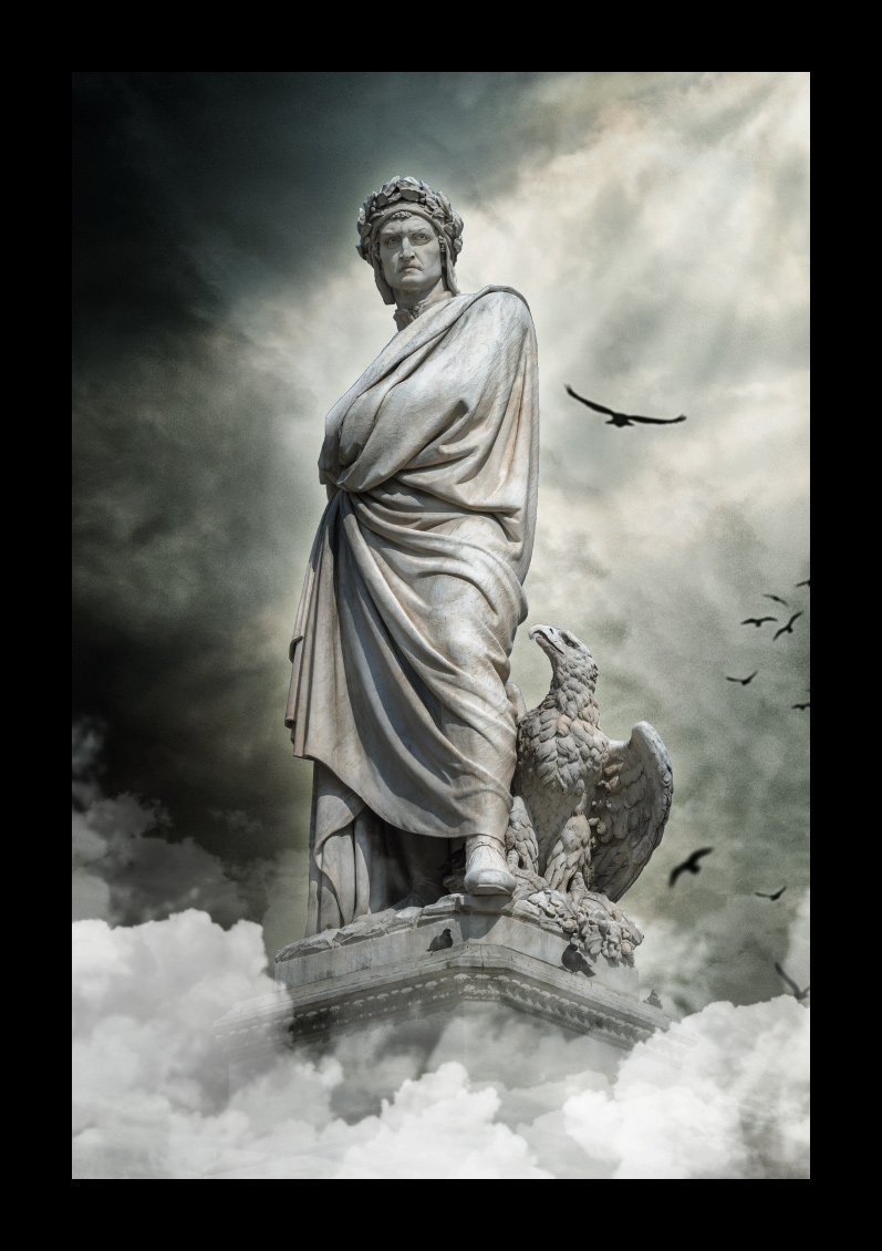 Dante Alghieri Santa Croce Enrico Pazzi parvis de la basilique Santa Croce Florence Italie